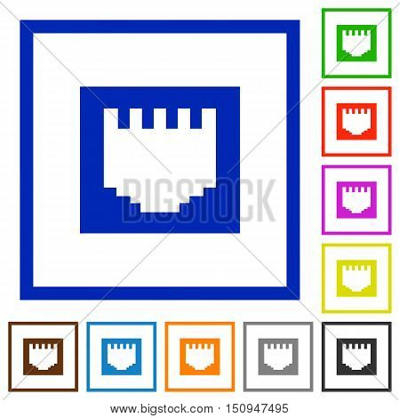 Set of color square framed Ethernet connector flat icons