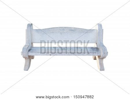 White stone concrete bench isolated on white.