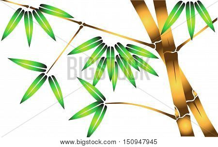 Green Bamboo Tree Leaves Flat Vector Illustration on white background