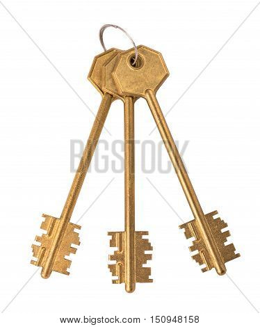 Isolated bunch of keys with clipping path on the white background