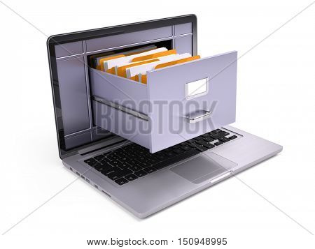 File Cabinet inside the screen of laptop isolated on white. 3d render