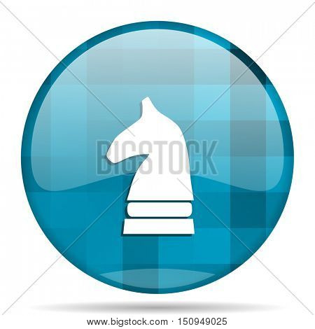chess horse blue round modern design internet icon on white background