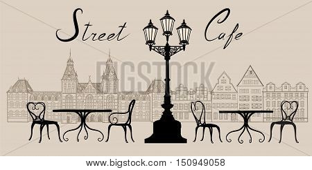 Street Cafe In Old City. Cityscape - Houses, Buildings And Tree On Alleyway. Old City View. Medieval