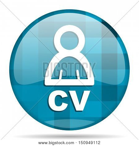 cv blue round modern design internet icon on white background