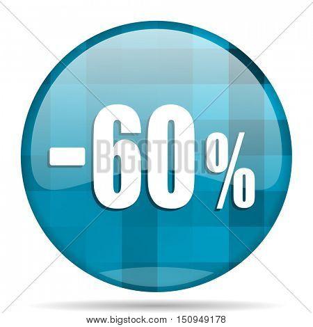 60 percent sale retail blue round modern design internet icon on white background