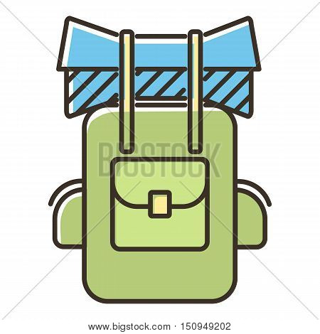Backpack icon. Flat illustration of backpack vector icon for web.
