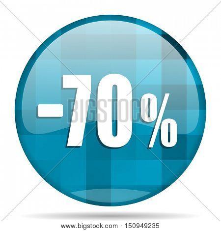 70 percent sale retail blue round modern design internet icon on white background