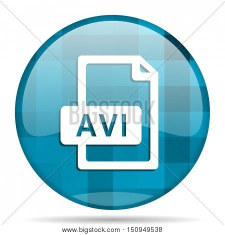 avi file blue round modern design internet icon on white background