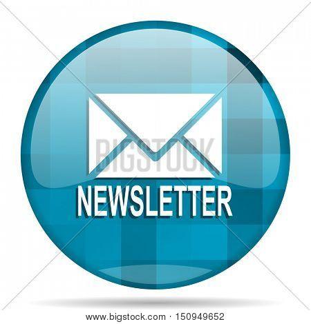 newsletter blue round modern design internet icon on white background