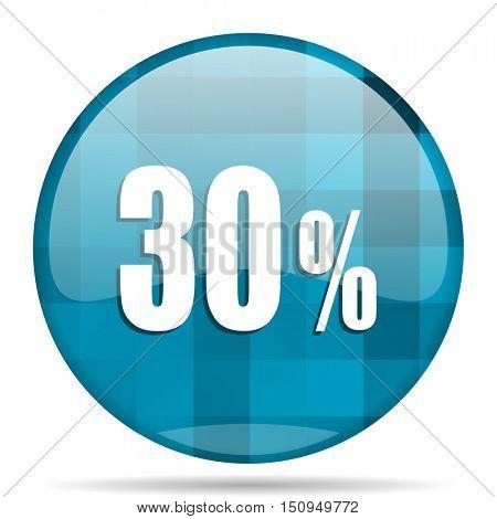 30 percent blue round modern design internet icon on white background