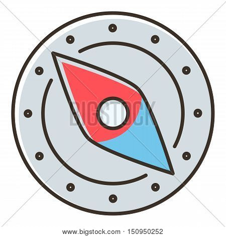 Compass icon. Flat illustration of compass vector icon for web.