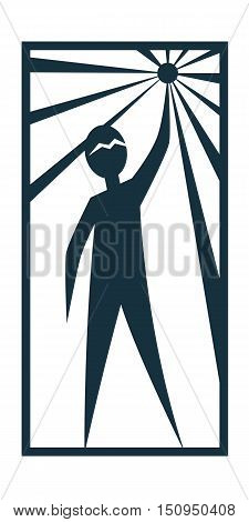 Man Person Basic body position Stick Figure Icon silhouette vector sign,logo, the North Star, Prometheus, star, rays, a symbol of hope, a star in the hand.Character is holding a star in his hand.