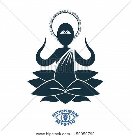 Vector image silhouettes Yoga meditating in the lotus position. Enlightenment Buddhist monk for logo and character