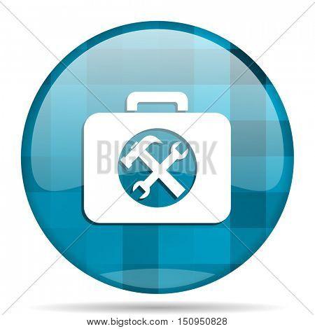 toolkit blue round modern design internet icon on white background