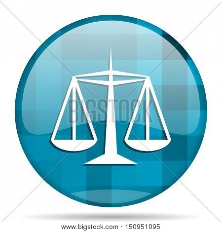 justice blue round modern design internet icon on white background