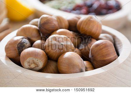 Hazelnuts In Wooden Bowl