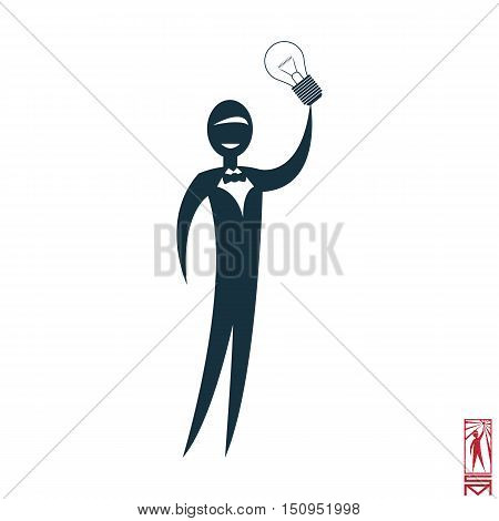 Man Person Basic body position Stick Figure Icon silhouette vector sign,Businessman, bow-tie, a symbol of power, idea, thought, think of genius, light, Eureka, creative