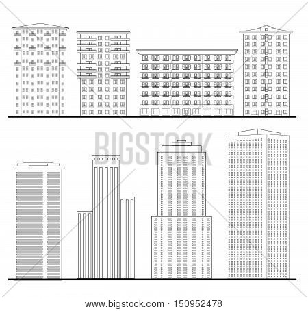 Architecture Set Outline Sketch Drawing Of Building Facade City Downtown Structure Collection