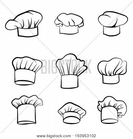 Cook hat. Drawn hat chef cook. Hat chef-cooker. Black hat chef cook on a white background engraving set