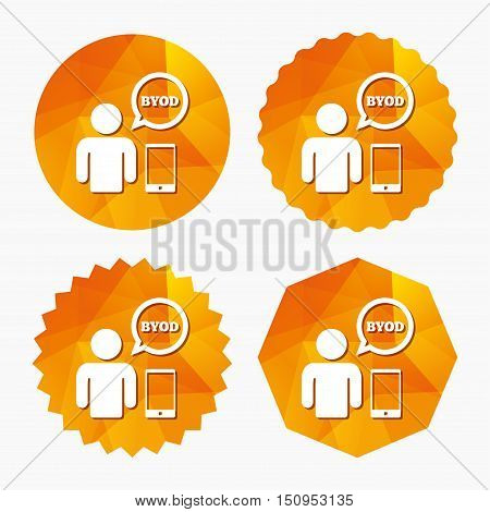 BYOD sign icon. Bring your own device symbol. User with smartphone and speech bubble. Triangular low poly buttons with flat icon. Vector