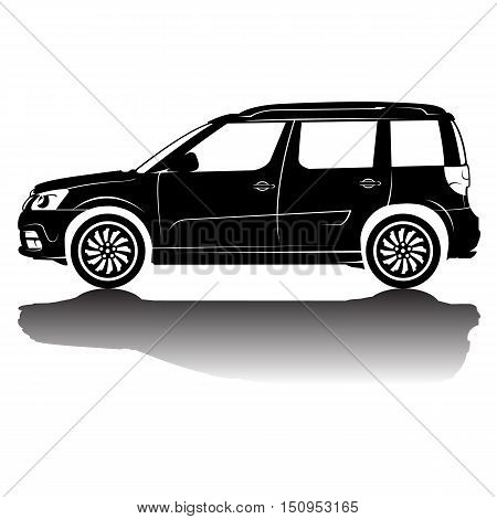 car silhouette in black with details.Vector isolated car silhouette image. Black silhouette. Car with reflection