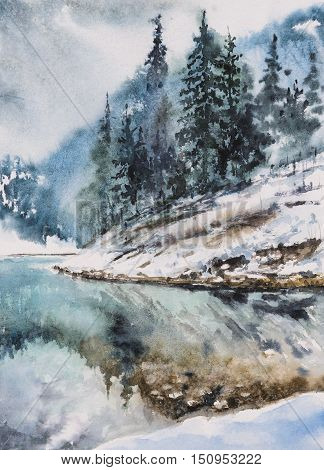 Winter landscape with mountain lake and trees on the hill reflected in water.Picture created with watercolors.