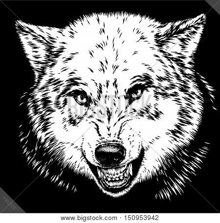 engrave isolated wolf vector illustration sketch. linear art