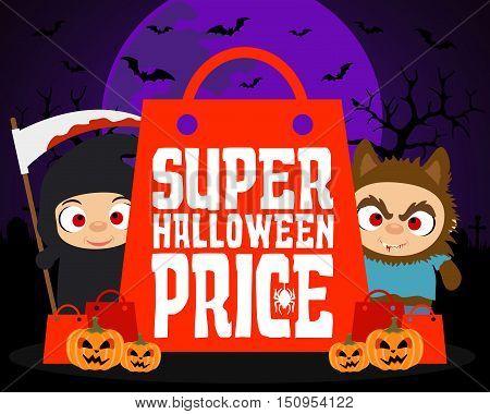 Super Halloween price design background.Vector illustration card