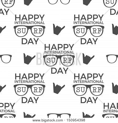 Surfing day pattern design. Summer seamless with surfer symbols - glasses, shaka sign and typography. Monochrome style. illustration. Use for fabric printing, web projects, t-shirts or tee