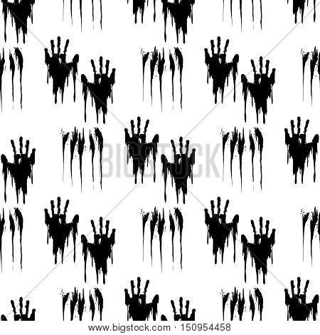 Black handprints on white seamless pattern. Horror background vector illustration