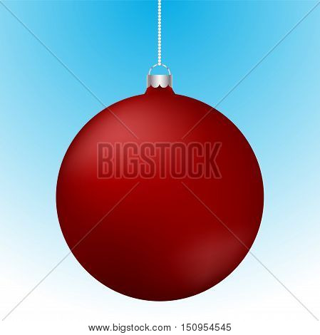 Realistic 3D red christmas ball decoration hanging on white chain. Rounded red ball decoration with reflections on blue to white gradient backdrop.
