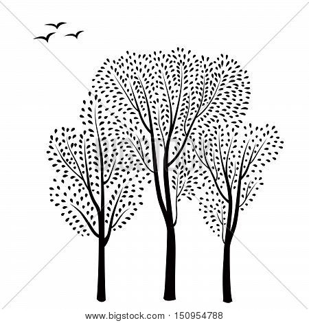 Forest Background. Trees With Leaves Card. Floral Greeting Card With Tree And Birds Silhouette. Vect