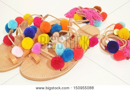 bohemian greek sandals with pom pom - hippie style clothing