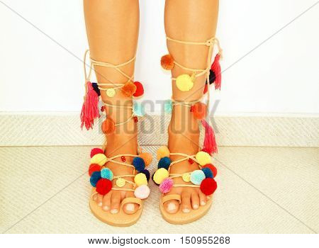 greek leather bohemian sandals with pom pom
