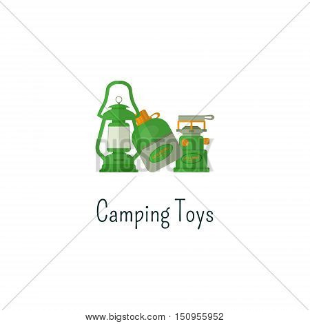 Camping toys flat icon. Toys isolated color pictogram. Toys for outdoors fun children. Adventure toys symbol for Vacation with family. Camp concept. Summer graphic for web infographics, print.