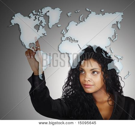 Positive African American Businesswoman And Map Of The World.