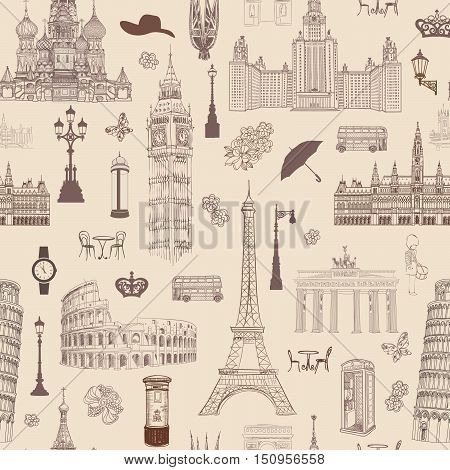 Travel seamless pattern. Vacation in Europe wallpaper. Travel to visit famous places of Europe background. Landmark tiled pattern.