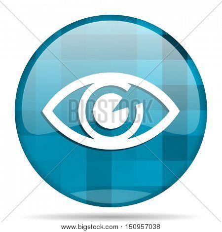 eye blue round modern design internet icon on white background