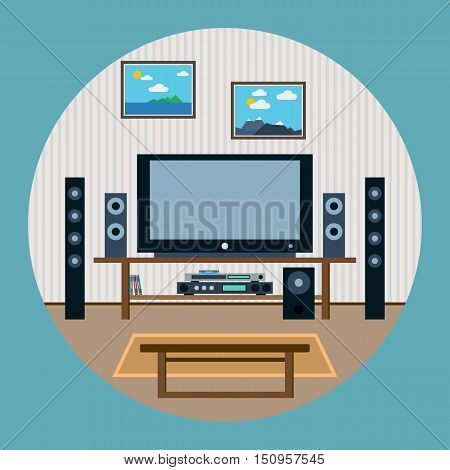 Modern home theater flat design style vector illustration
