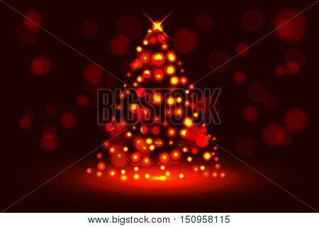 Abstract christmas tree from glowing sparkles circular small explosions or plasma effect on dark red backdrop with red rounded bokeh effect and shining star. Dots magma style christmas tree.