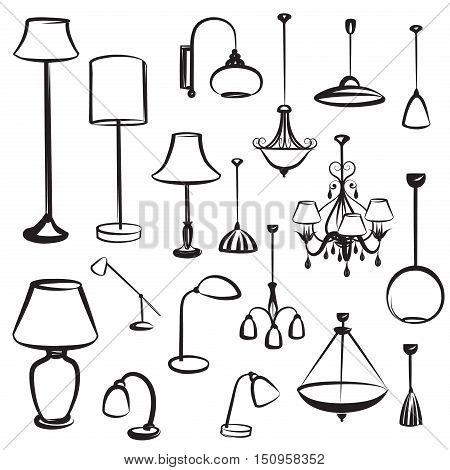Interior furniture icons. Ceiling lamp icon set. Silhouette ceiling lamps light for home appliance indoor furniture.