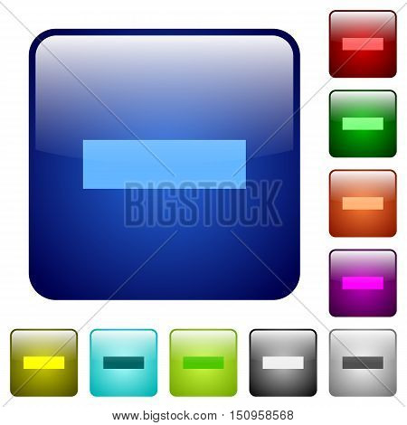 Set of remove color glass rounded square buttons