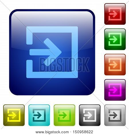 Set of import color glass rounded square buttons