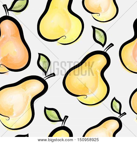 Pear watercolor seamless pattern. Juicy fruits tile background. Food dessert ornament