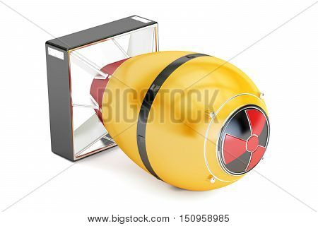 Yellow atomic bomb 3D rendering isolated on white background