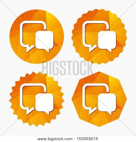 Chat sign icon. Speech bubble symbol. Communication chat bubble. Triangular low poly buttons with flat icon. Vector