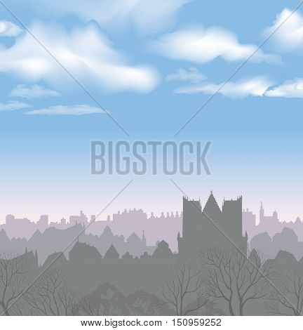 City skyline. Buildings silhouette cityscape. Old city street in arly morning. European downtown. Urban landscape with trees.
