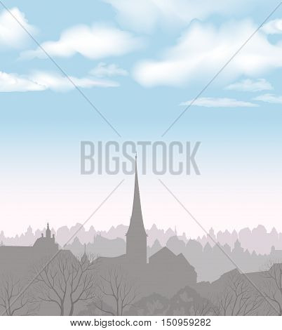 City skyline. Buildings silhouette cityscape. Old city street view in early morning. European downtown. Urban landscape with tower and trees.