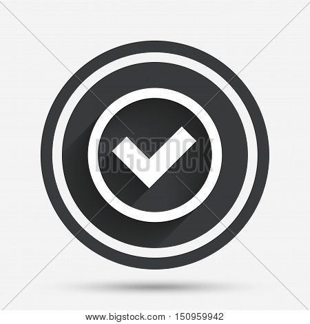 Check mark sign icon. Yes circle symbol. Confirm approved. Circle flat button with shadow and border. Vector