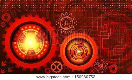 Abstract futuristic technology background with gears in red and yellow shades. Digital technology and engineering concept design